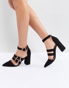 Черные туфли на каблуке с тремя пряжками RAID Sidney - Черный