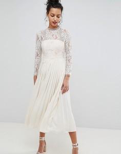 Платье миди с кружевным лифом и плиссированной юбкой Little Mistress - Кремовый