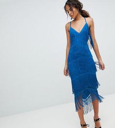 Облегающее платье миди с бахромой ASOS DESIGN Tall - Синий
