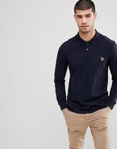 Поло темно-синего цвета с длинными рукавами и логотипом-зеброй PS Paul Smith - Темно-синий