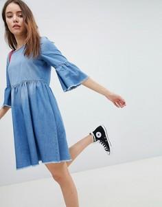 Джинсовое короткое приталенное платье JDY - Синий