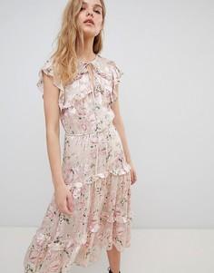 Шелковое платье миди с цветочным узором Rahi Cali - Розовый