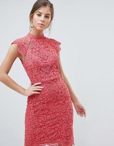 Кружевное платье-футляр с фигурными краями Chi Chi London - Розовый