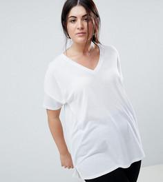 Легкая удлиненная oversize-футболка с V-образным вырезом ASOS DESIGN Curve - Белый