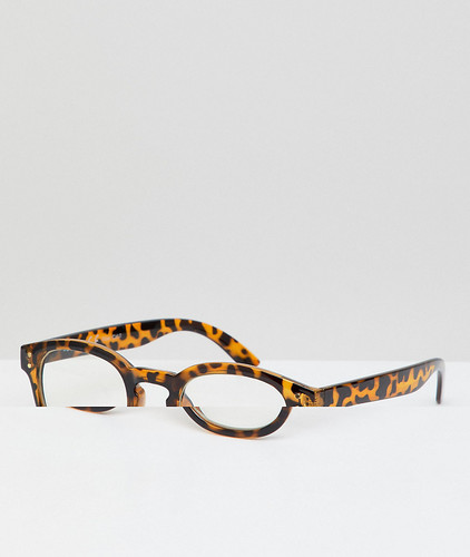 Круглые черепаховые очки с прозрачными стеклами AJ Morgan - Коричневый