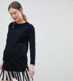 Трикотажное платье 2 в 1 с подолом в полоску ASOS DESIGN Maternity - Черный