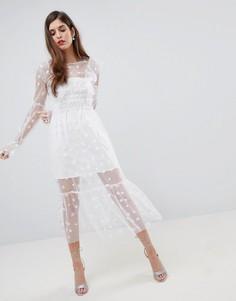 Платье миди из тюля For Love and Lemons - Белый