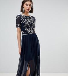 Платье макси с декорированным лифом Frock And Frill - Темно-синий