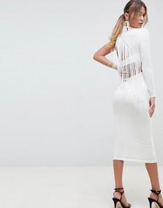 Платье миди на одно плечо с бахромой ASOS DESIGN - Белый