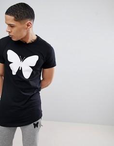 Черная обтягивающая футболка с принтом бабочки Good For Nothing - Черный