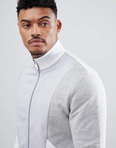 Серая трикотажная спортивная куртка колор блок ASOS DESIGN - Серый