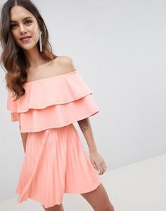 Плиссированное платье мини с двумя оборками ASOS DESIGN - Оранжевый