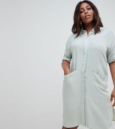Платье-рубашка с короткими рукавами и драпированными карманами ASOS DESIGN Curve - Синий