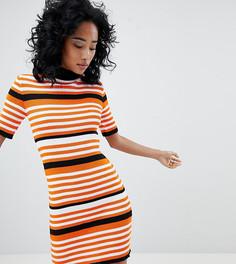 Платье-джемпер в рубчик с короткими рукавами Rokoko - Мульти