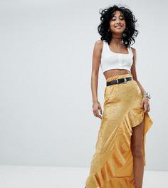 Бархатная юбка с высоким разрезом и оборками Rokoko - Желтый