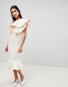 Стеганое облегающее платье миди ASOS PREMIUM - Кремовый