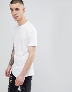 Длинная белая футболка с асимметричным краем River Island - Белый