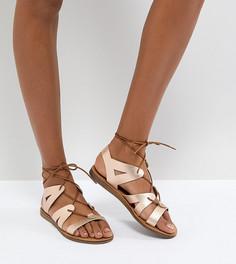 Золотисто-розовые кожаные сандалии на шнуровке Office Saffy - Золотой