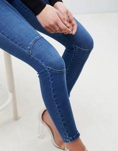Темно-синие зауженные джинсы с завышенной талией и отделкой в области колен ASOS DESIGN Ridley - Синий
