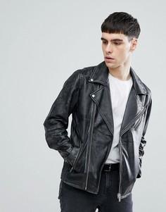 Кожаная байкерская куртка с потертой отделкой Selected Homme - Черный