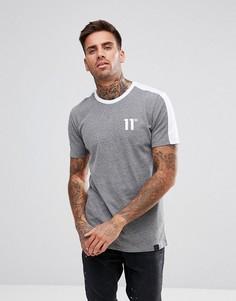 Серая обтягивающая футболка с контрастной спиной 11 Degrees - Серый