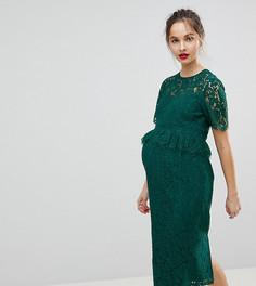Кружевное платье-футляр с баской ASOS MATERNITY - Зеленый