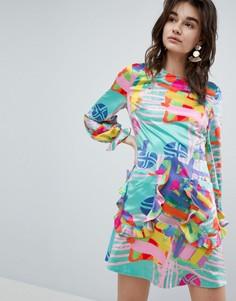 Платье мини с принтом House Of Holland Nova - Мульти
