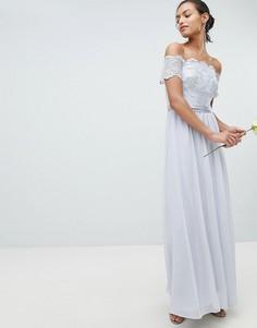 Платье макси с отделкой Coast Madelene - Серебряный