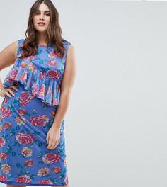 Сетчатое платье миди с цветочным принтом ASOS CURVE - Мульти