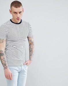 Белая обтягивающая футболка в полоску River Island - Белый