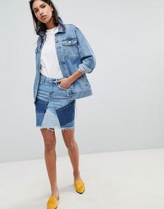 Джинсовая мини-юбка в стиле пэчворк River Island - Синий