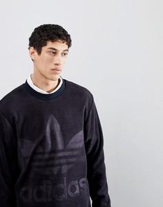 Черный велюровый свитшот свободного кроя adidas Originals adicolor CY3551 - Черный