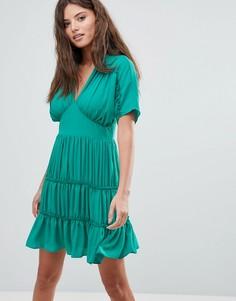 Мягкое ярусное платье мини ASOS - Зеленый