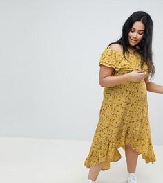 Платье миди с открытыми плечами и оборкой River Island Plus - Желтый