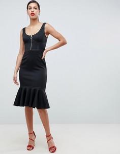 Платье-футляр миди с оборкой и контрастными строчками ASOS - Черный