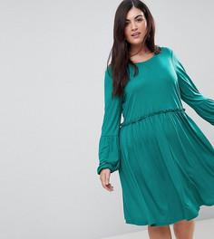 Короткое приталенное платье с длинными рукавами Junarose - Зеленый