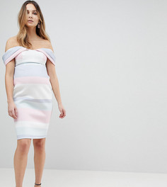 Платье-футляр в пастельную полоску с открытыми плечами ASOS MATERNITY - Мульти