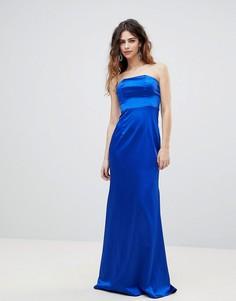 Атласное платье-бандо макси Bariano - Синий