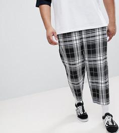 Свободные укороченные брюки в клетку Reclaimed Vintage Inspired PLUS - Черный