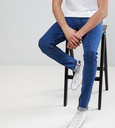 Темные джинсы скинни в стиле ретро с необработанными краями ASOS TALL - Синий