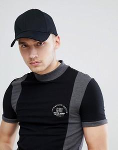 Обтягивающая футболка со вставками и принтом на груди ASOS DESIGN - Черный