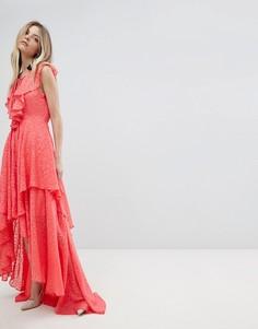 Платье макси с оборкой и шнуровкой Y.A.S - Белый