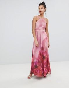 Платье макси с высоким воротом и цветочным принтом Little Mistress - Мульти