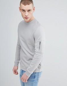Серый меланжевый свитшот с карманом MA1 River Island - Серый