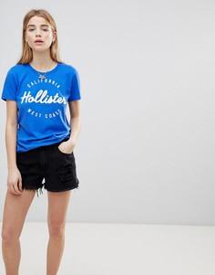 Джинсовые шорты с завышенной талией и рваной отделкой Hollister Girlfriend - Черный