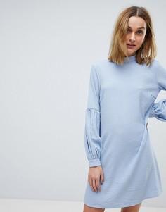 Платье А-силуэта в полоску Pieces - Синий