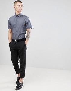 Строгая приталенная рубашка с короткими рукавами Calvin Klein - Серый