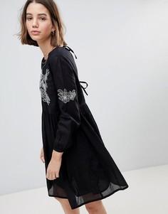 Свободное платье с вышивкой People Tree - Черный