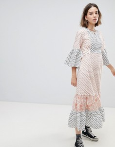 Чайное платье макси с мозаичным принтом People Tree - Мульти