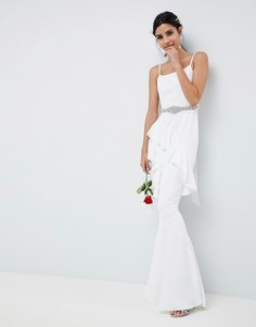Платье макси с оборками и ремнем ASOS EDITION Wedding - Белый